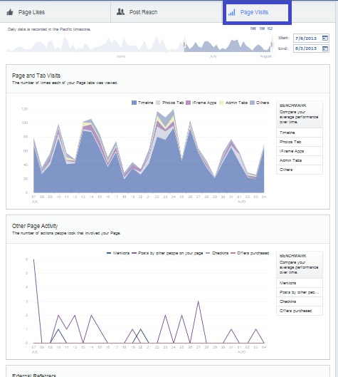 page visits, page statistics