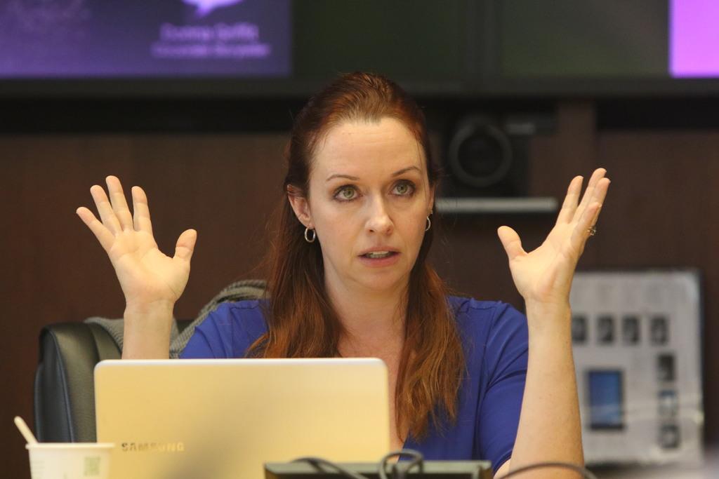 מוכשרת, סוחפת ועצמתית. דונה גריפיט מלמדת כיצד לדייק את הפיץ' למשקיעים. צילום: לימור אדרי