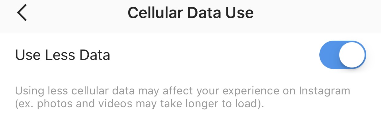 cellular data use Instagram