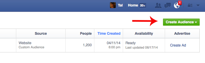 Website Custom Audience on Facebook