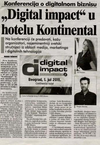 כתבה על ההרצאה שלי בעיתון המקומי סרביה 2011