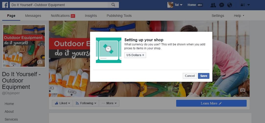 בחירת מטבע בחנות פייסבוק