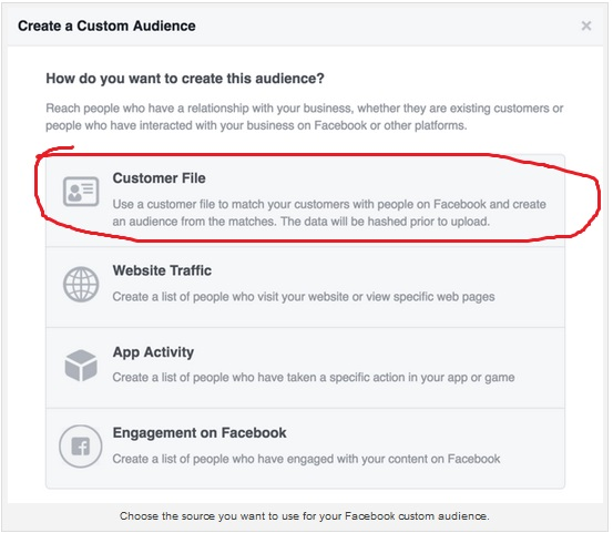custom audience Facebook2