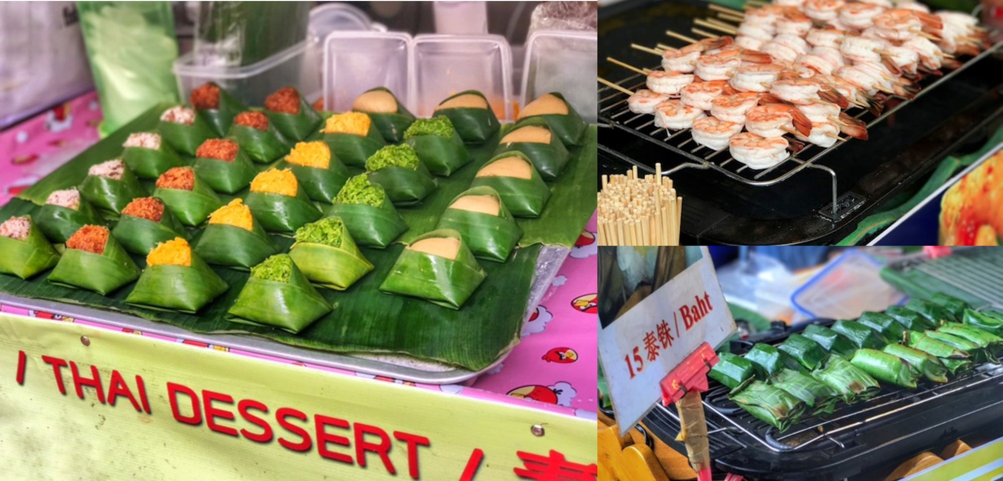 מאכלים תאילנדים טיפוסיים בשוק הצף של פטאיה